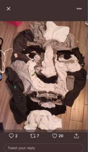 a photo of a face created using different kinds of laundry