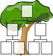 An illustration of a tree with boxes and lines on top of it to denote family lineage