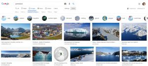 A google image search result page for Greenland