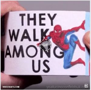 Screen shot of a gif flip book with Spiderman and the title They Walk Among Us