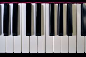 A photo of piano keyboard keys