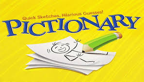 A picture of the cover box of the board game Pictionary