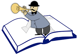 An illustration of a book with a pop-up figure of a horn-playing man in the middle