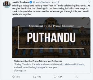 Trudeau tweet r: Puthandu