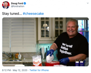 Doug Ford cooking cheesecake